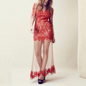 For Love & Lemons Embroidered/Sheer Maxi Dress